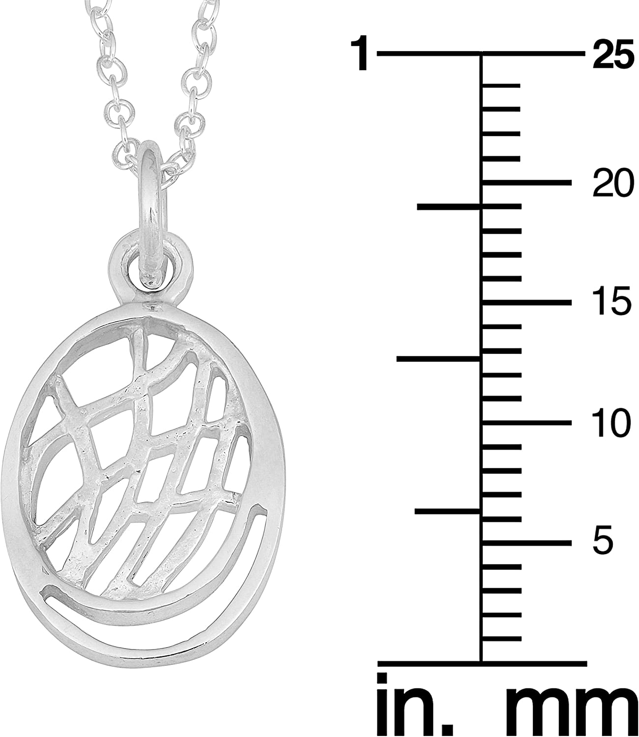 Kooljewelry Sterling Silver High Polish Fancy Oval Pendant on Cable Chain Necklace 18 inch