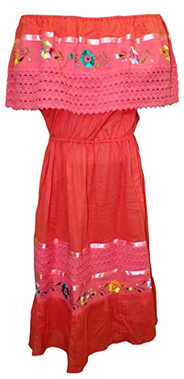 ee3d591dc76f14 Women's Puebla Crochet Mexican Embroidered Dress - Coral (Fits Medium - XL)  (One