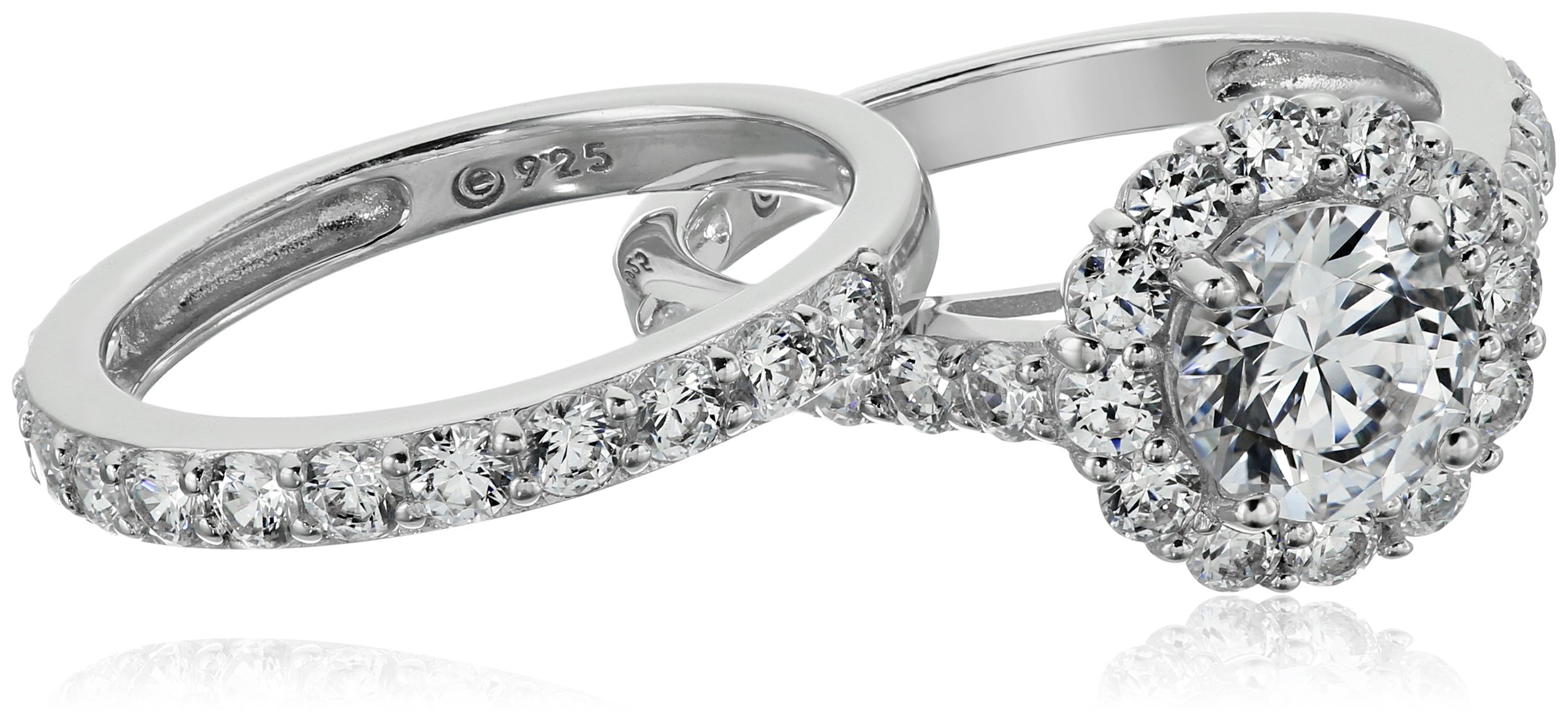 Platinum-Plated Sterling Silver Flower Halo Ring set with Swarovski Zirconia (2.9 cttw), Size 7 by Amazon Collection (Image #3)