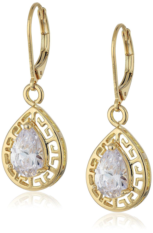 1928 Jewelry 14k Gold-Dipped Cubic Zirconia Filigree Teardrop Earrings