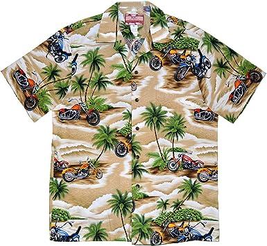 RJC 5X Big Mens Motorcycle Island Hawaiian Shirt Beige at Amazon ...