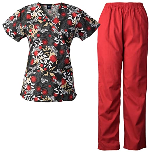 e85fe530e40 Amazon.com: Medgear Womens Scrubs Set, Scrubs Print Top & Elastic ...