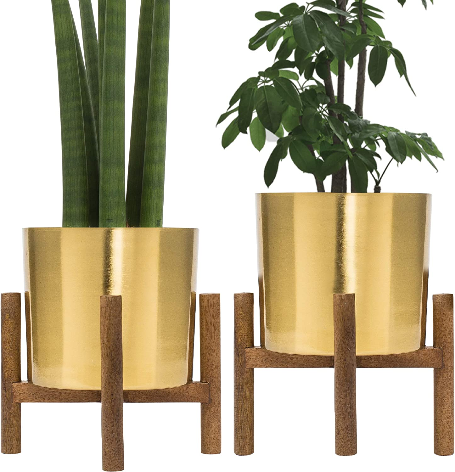Set of 2 Mid Century Brass Plated Gold Planter with Stand, 7 Inch Large Metal Pot with Mango Wood Stand, Modern Flower Pot Decor for Living Room, Orchid, Aloe, Succulents Large Cactus Plants, Indoor