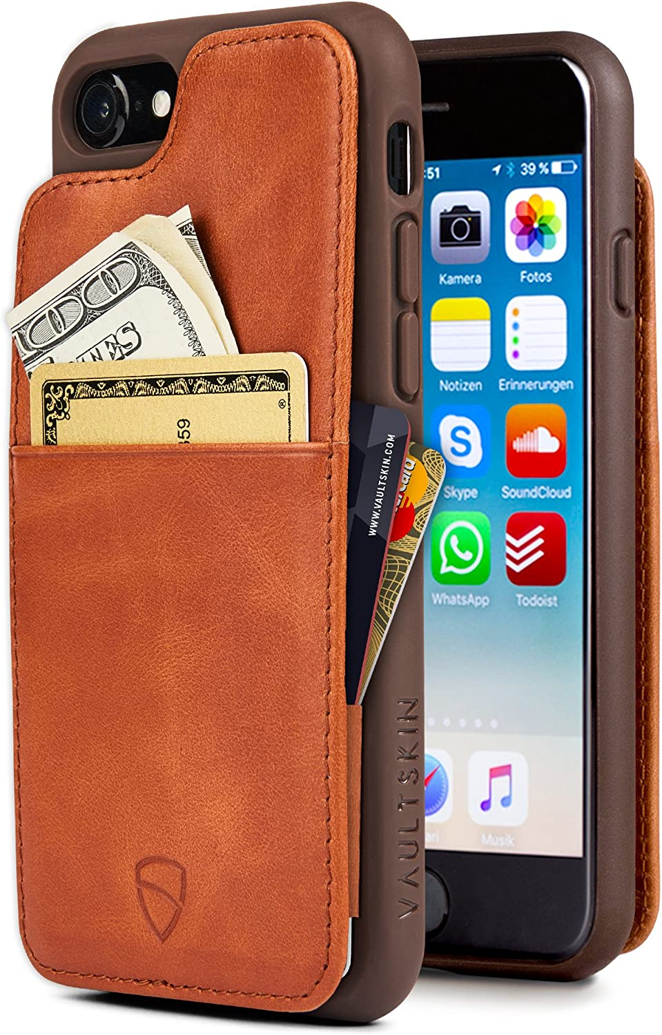 iPhone 7/8 Wallet Case, Vaultskin Eton Armour for iPhone 7/8/SE 2020, Slim Minimalist Bumper Case for Cards and Cash, Genuine Leather - Holds up to 10 Cards (iPhone 7/8,SE2020, Cognac)