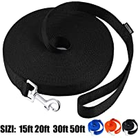 AmaGood Dog/Puppy Obedience Recall Training Agility Lead-15 ft 20 ft 30 ft 50 ft Long Leash-for Dog Training,Recall,Play,Safety,Camping(Black,15FT)