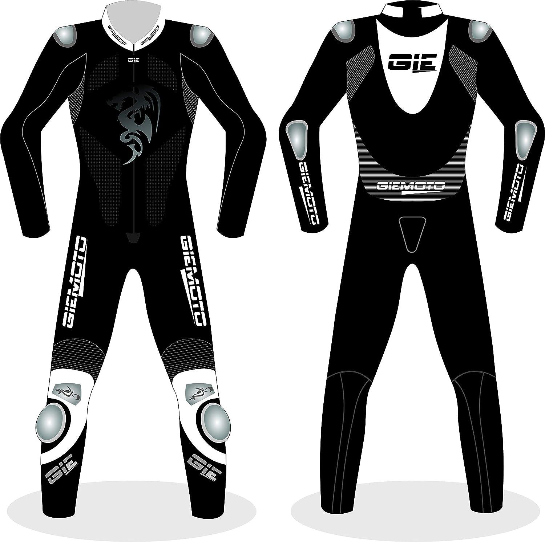 MOTOGPGEARS Traje de carreras de cuero negro genuino de ...