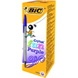 Bic Cristal Fun 1,6 Stylo-bille non rétractable Violet - Lot de 20 stylos