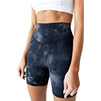 "Kamo Fitness High Waisted Yoga Shorts 6"" Inseam Butt Lifting Tie Dye Soft Workout Pants Tummy Control"
