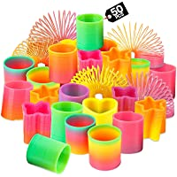 Rainbow Spring Toy Assortment - (Pack of 50) Mini Plastic Coil Spring Toy | Bright Colors and Shapes, Goody Bag Filler…