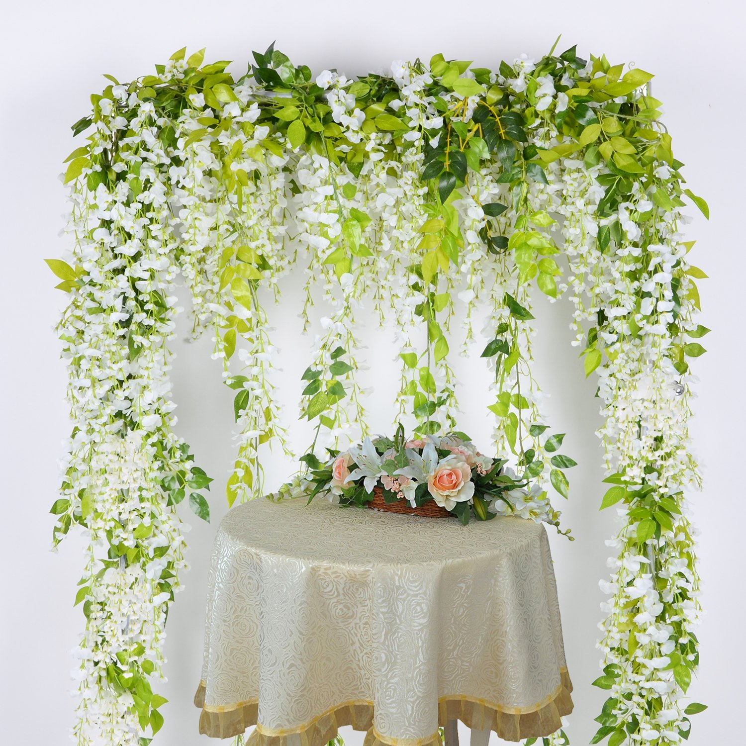 Lvydec wisteria artificial flowers garland 4pcs total 288ft white lvydec wisteria artificial flowers garland 4pcs total 288ft white artificial wisteria vine silk hanging flower izmirmasajfo
