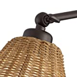 Rowlett Bronze Rattan Shade Plug-in Wall Lamp