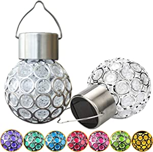 Solar Hanging Ball Light 7 Color Changing Led Outdoor Waterproof Decor Lighting for Garden Patio Path Landscape Pack of 2
