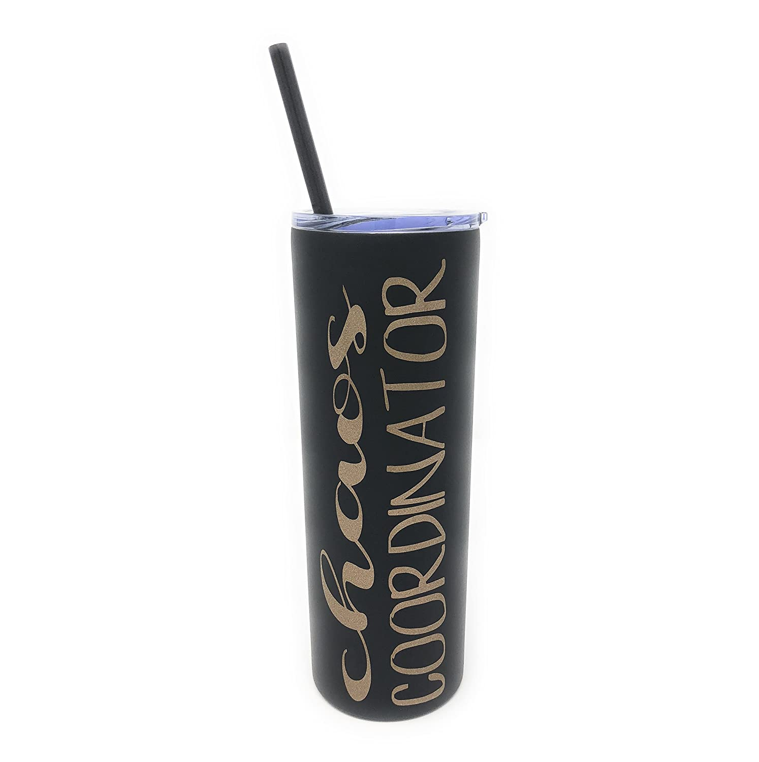Chaos Coordinator in Gold Glitter Vinyl on a 20oz Black Stainless Steel Skinny Tumbler