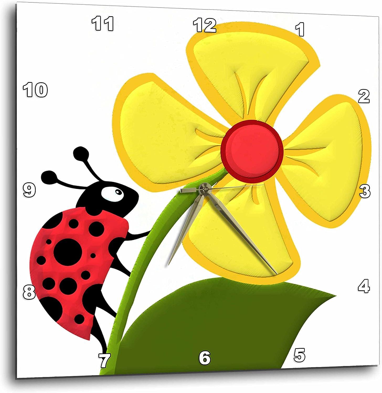 3dRose てんとう虫とデイジー - 壁掛け時計 15 x 15インチ (DPP_63122_3)