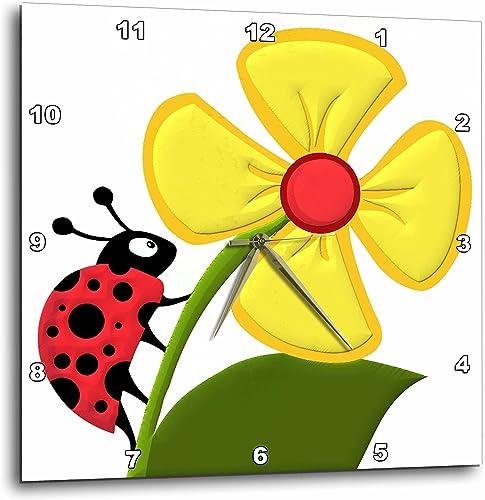 3dRose DPP_63122_2 Ladybug and Daisy Wall Clock, 13 by 13-Inch
