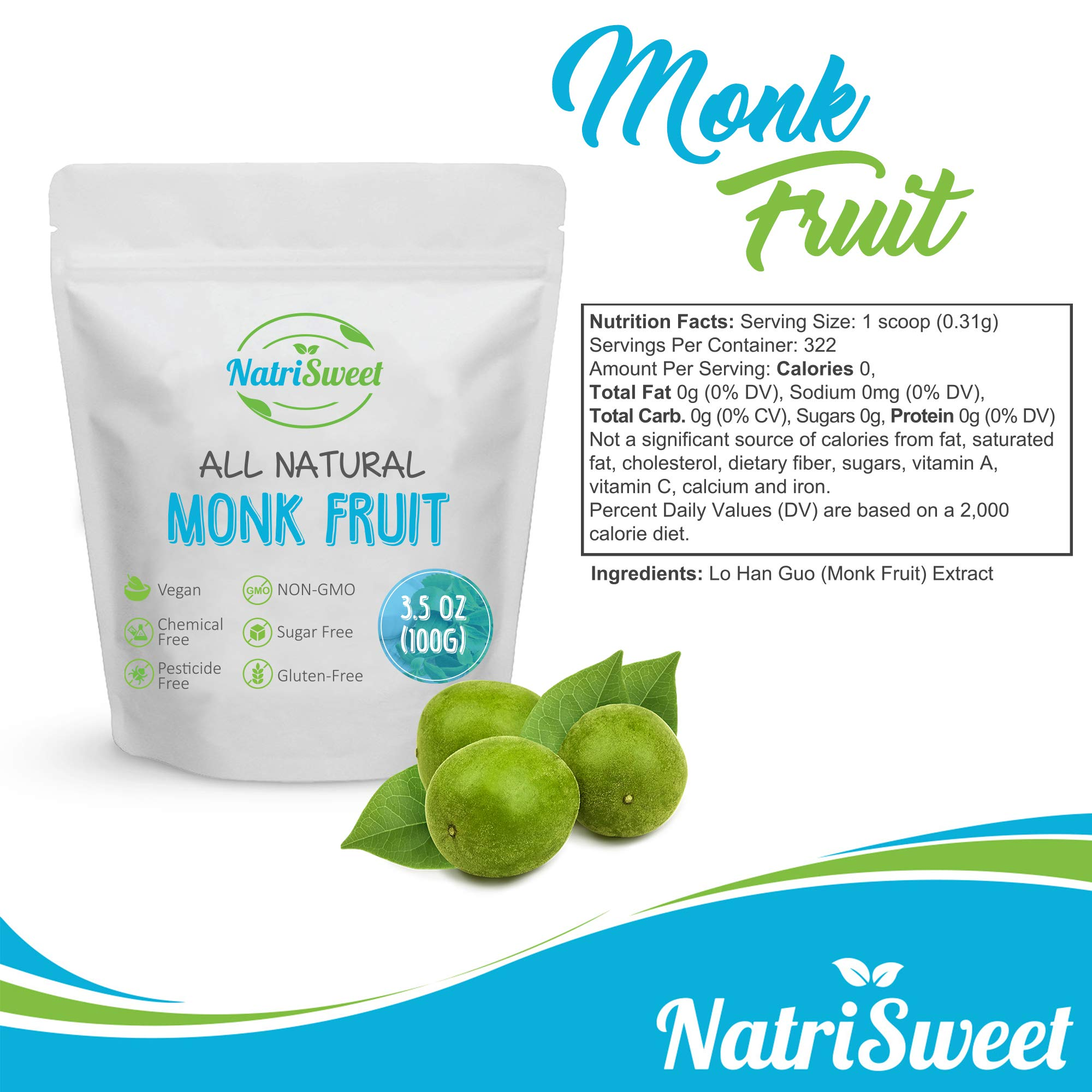 NatriSweet Monk Fruit Extract 3.5oz (100g) 322 Servings | Zero Calorie, Zero Carb, Natural Sweetener | Sugar Alternative with No Artificial Sweeteners | Perfect for Keto, Paleo & Low-Carb Dieters by NatriSweet (Image #3)