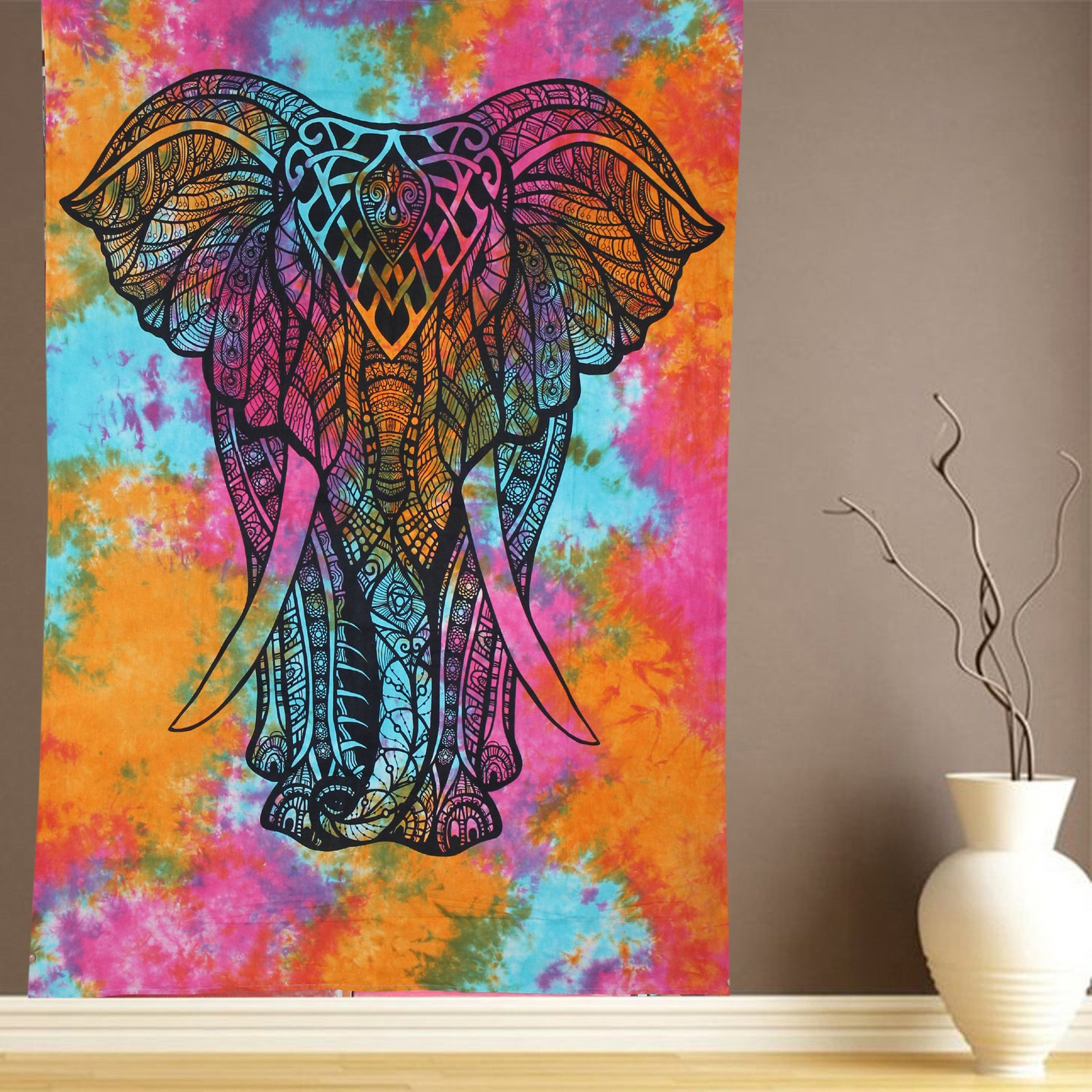Raajsee Indian Rainbow Elephant Tie Dye Tapestry 54x84 inches Psychedelic Hippy Wall Decor College Dorm Table Cloth Bohemian Beach Throw Colorful Hippie Wall Hanging
