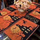 """BEEY Table Runner Pumpkin Witch Bat Table Cover Halloween Placemat Desktop Decoration (1, 13""""Wx18""""L)"""