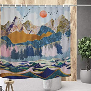 Maccyafst Mountain Forest Shower Curtain Watercolor Sunset Nature Landscape Bath Curtain Waterproof Ocean Wave Shower Curtain Sets for Bath Room Curtain Decor with Hooks W59×H70Inches