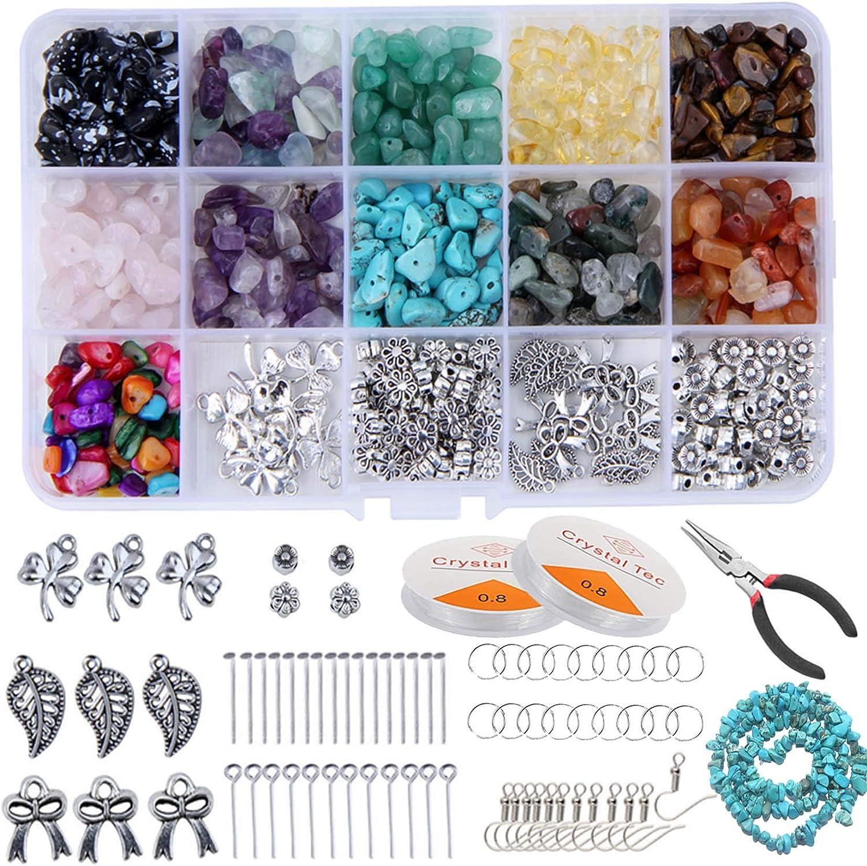 Tenwind Irregulares Piedras Colores,11 Colores Cuentas de Piedras Preciosas,Abalorios para Bisutería,Manualidades Adultos Kits Cristal para Bricolaje Pulseras Pendientes Collares