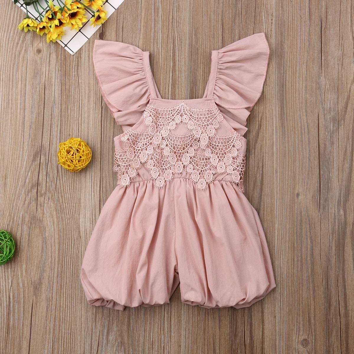 Mubineo Little Toddler Girl Ruffle Sleeveless Wide Leg Cotton Romper Jumpsuit Outfit Clothes