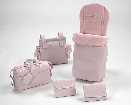 Conjunto de saco y bolsos en Polipiel Rosa: Amazon.es: Bebé