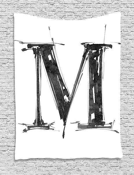 XHFITCLtd - Tapiz con letra M, diseño de alfabeto en dibujo, estilo artístico,