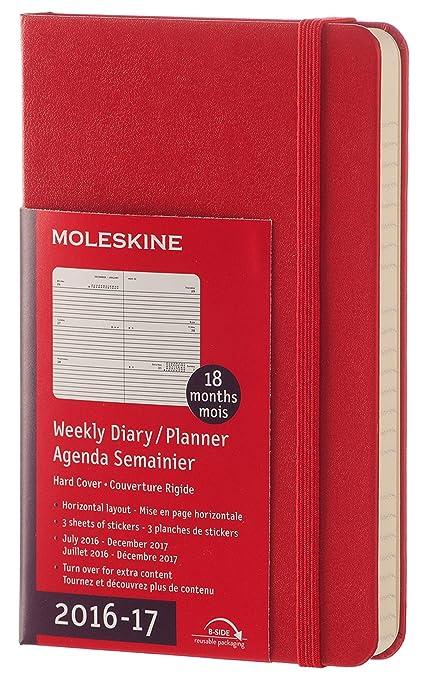 Moleskine DHF218WH2Y17 - Agenda semanal 18 meses, pocket 9 x 14