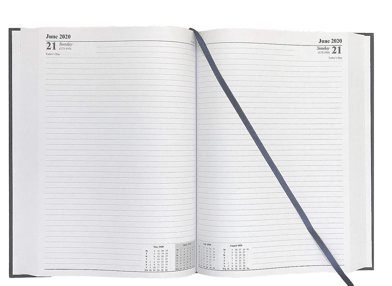 Precious London - Agenda de escritorio con tapa dura, A4, 2 páginas por día, para negocios, oficina, color azul marino