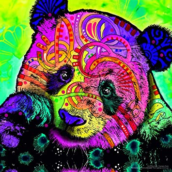 Psychedelic Panda By Dean Russo Modern Colorful Animal Art Poster Print 12 X 12 Unframed Print