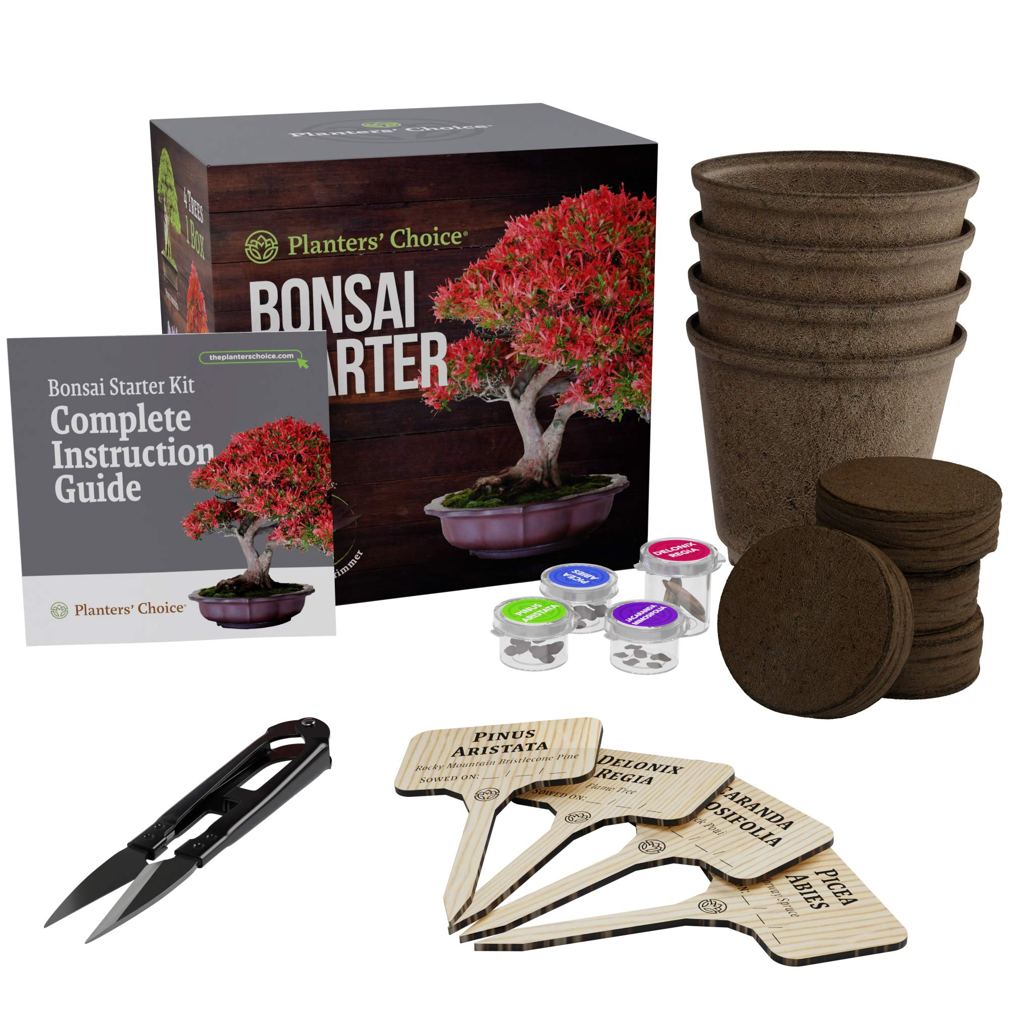Planters' Choice Bonsai Starter Kit - The Complete Kit to Easily Grow 4 Bonsai Trees from Seed with Comprehensive Guide & Bamboo Plant Markers - Unique Gift Idea (Bonsai) by Planters' Choice