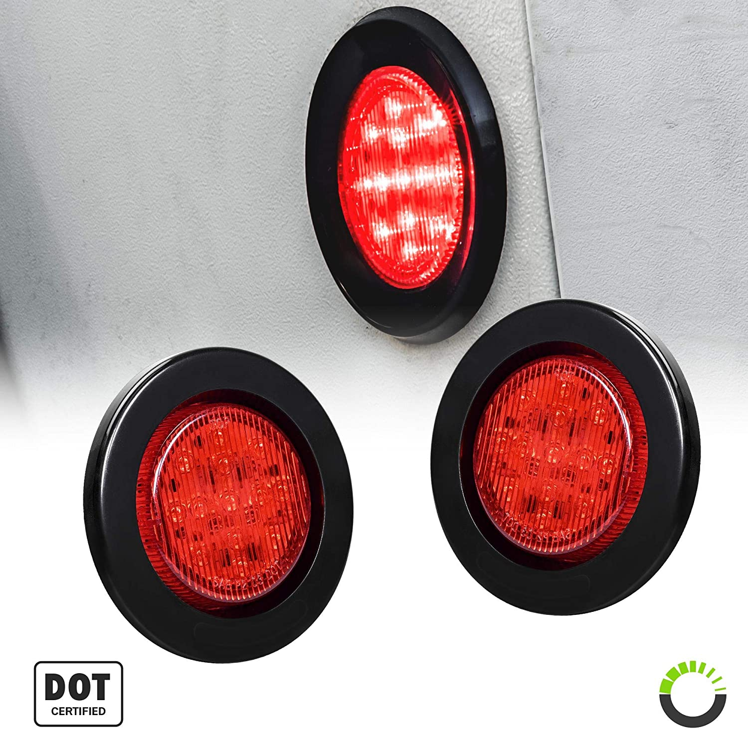 2 Year Warranty 8PC 2.5 Round 10 LED Light D.O.T. Certified Side Marker Light for Trucks and Trailers Polycarbonate Reflector 2 in 1 Reflector 13 LEDs Amber