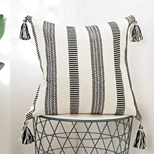 blue page Black Off White Stripes Cotton Woven Square Decorative Throw Pillow Covers for Couch Sofa Bedroom Living Room, Modern Accent Cushion Cover with Tassels, Home Decor Pillow Case, 18x18 Inch