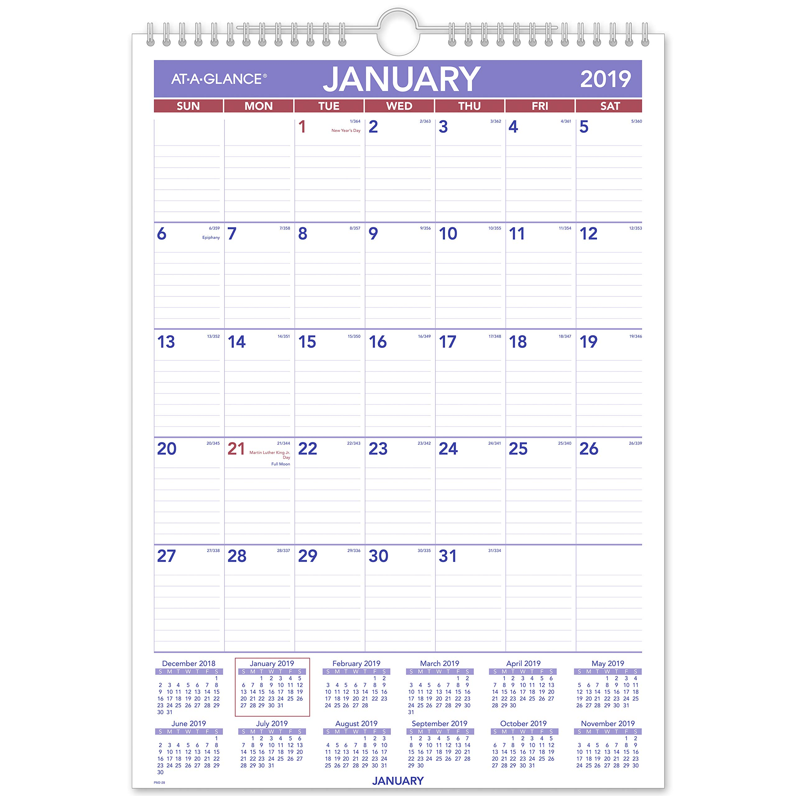 AT-A-GLANCE 2019 Monthly Wall Calendar, 12'' x 17'', Medium, Wirebound (PM228) by AT-A-GLANCE