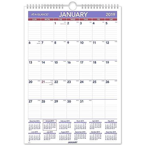 Calendario Mese Dicembre 2019.At A Glance Pm228 18 Calendario Mensile Gennaio 2019