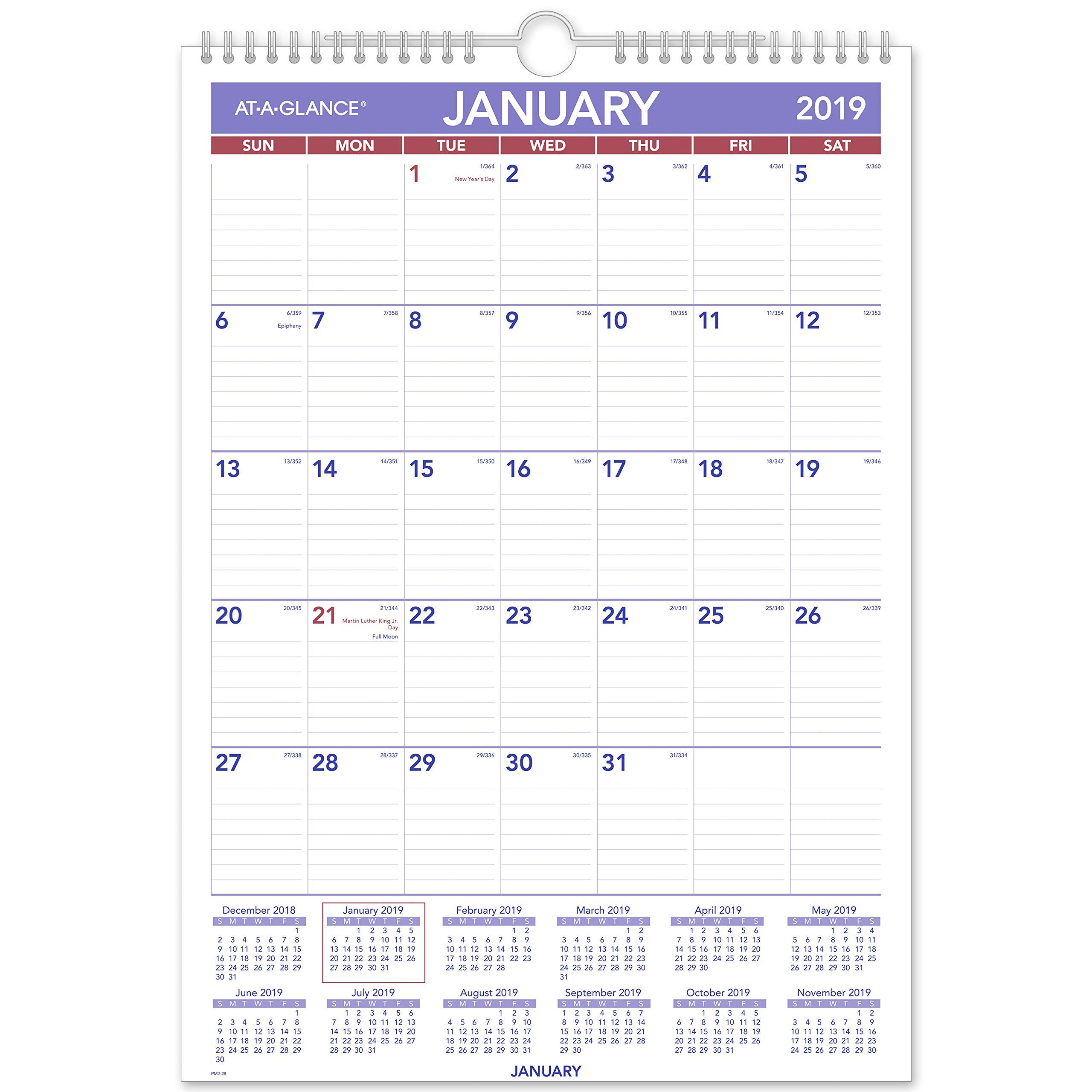 AT-A-GLANCE 2019 Monthly Wall Calendar, 12'' x 17'', Medium, Wirebound (PM228)