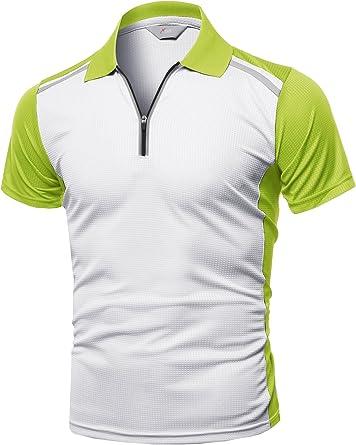 Men's Coolmax 2 Tone Collar Zipup Polo T-Shirt