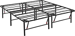 AmazonBasics Foldable Platform Bed Frame, Tool-Free Assembly, 18 Inch Height for Under-Bed Storage, King