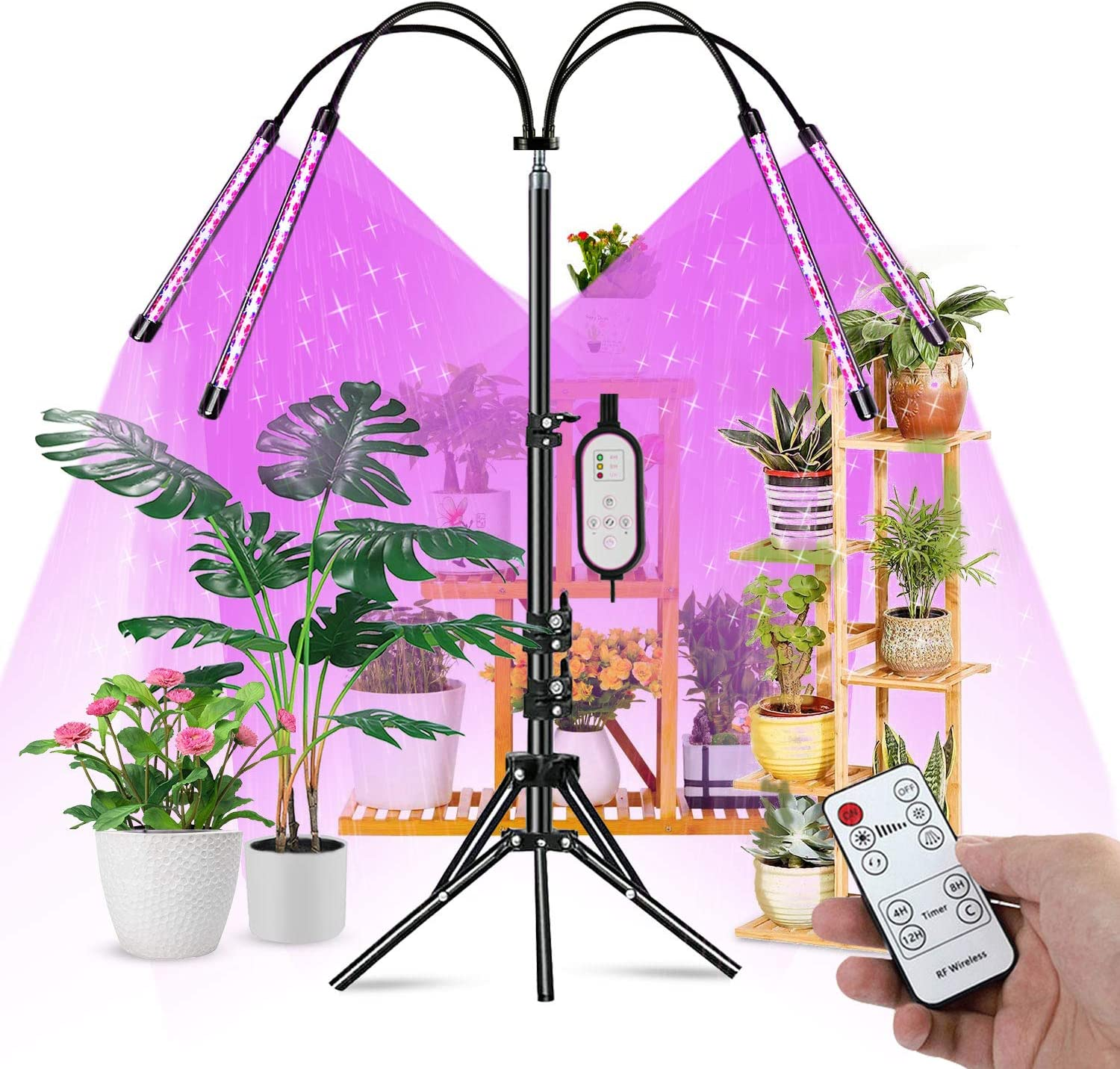 Amazon - $29.99😱 4-Head Grow Light with Tripod Stand for Indoor Plants-10 Level Brightness Plant Light with Full Spectrum
