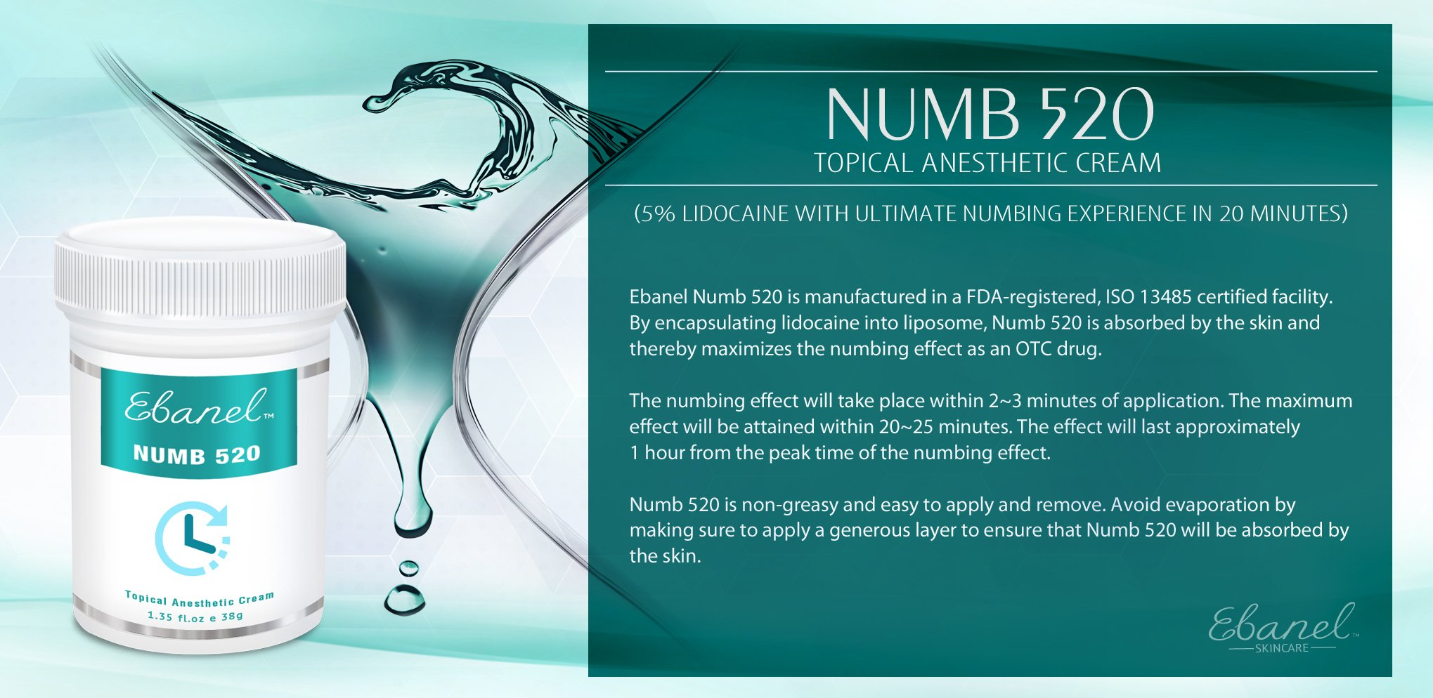 Numb 520 (1.35oz / 38g) 5% Lidocaine, Liposomal Technology for Deeper Penetration, Topical Numbing Cream, Local and Anorectal Discomfort