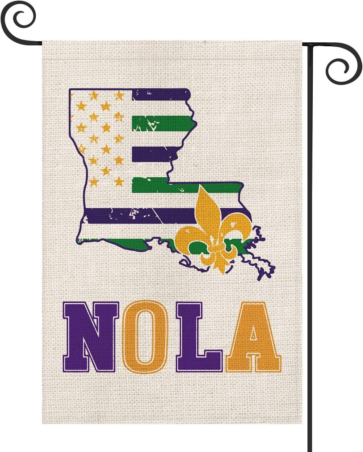 AVOIN NOLA Fleur de Lis New Orleans Garden Flag Vertical Double Sized, Mardi Gras Party Louisiana State Map Yard Outdoor Decoration 12.5 x 18 Inch