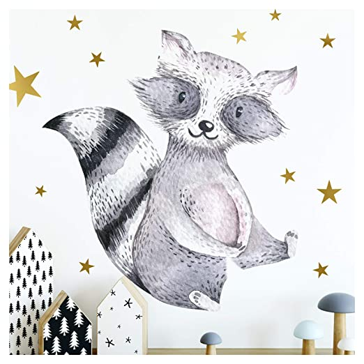 Little Deco Pared Tatuaje Estrellas y Bosque Animal Mapache I A4 ...
