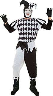 Mens Harlequin Male Costume for Clown Circus Jester Fancy Dress Outfit Adult  sc 1 st  Amazon UK & Harlequin Jester Black u0026 White Male Fancy Dress Costume: Amazon.co ...