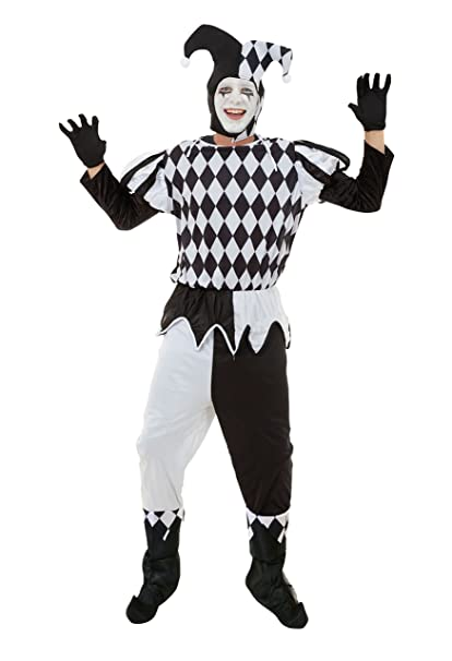 094a14a54b328 Mens Harlequin Male Costume for Clown Circus Jester Fancy Dress Outfit Adult