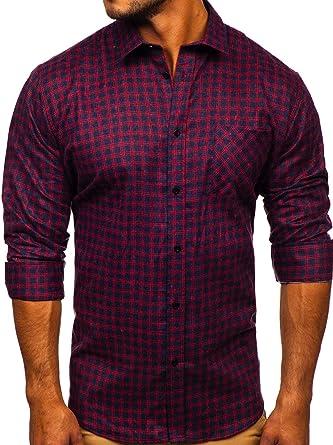 BOLF Hombre Camisa de Flanela A Cuadros con Botones A Presión Mezcla de Algodón Mix 2B2: Amazon.es: Ropa y accesorios