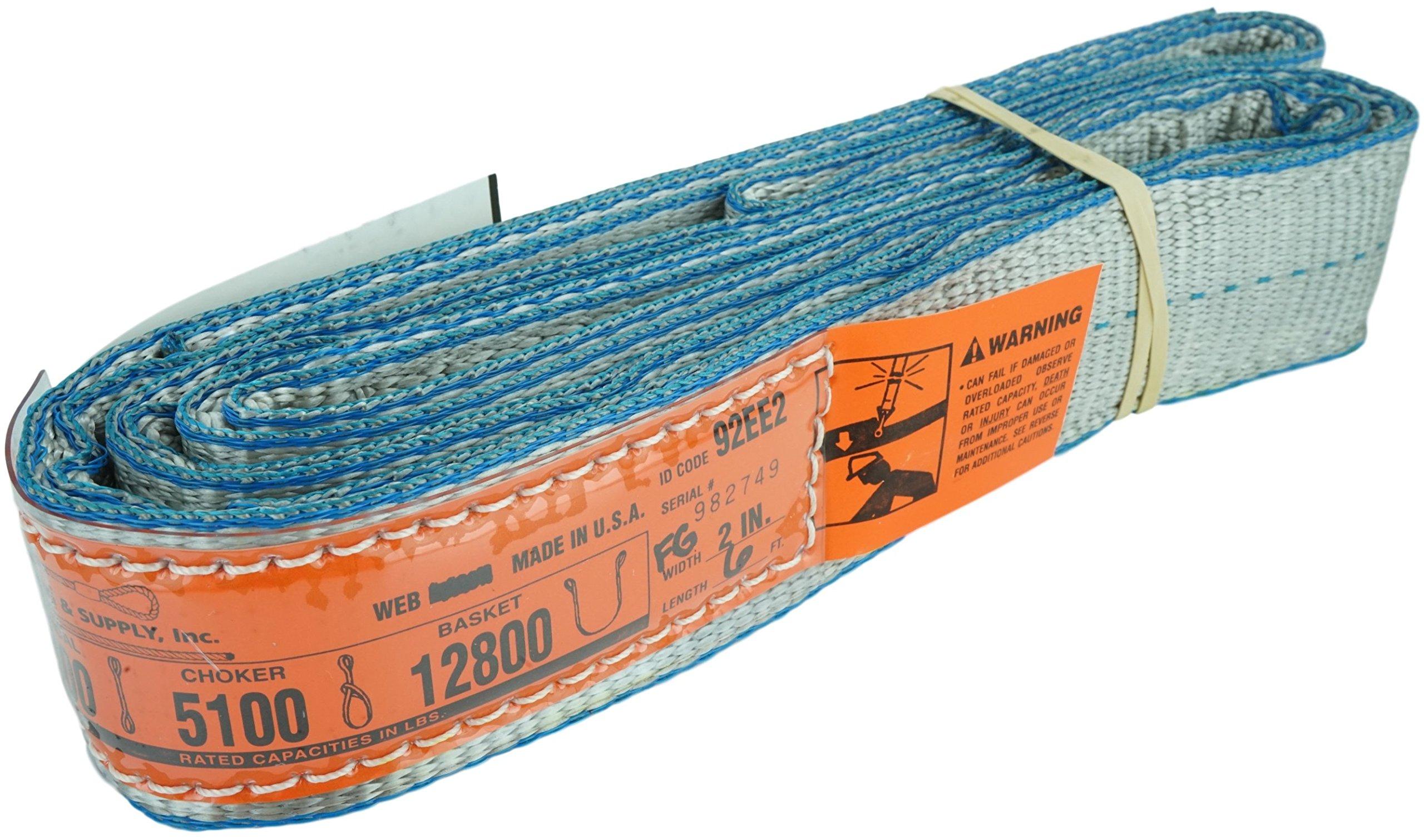 DD Sling (USA Made). 2'' x 10', Flo Guard 2 Ply, Polyester Lifting Slings, Eye & Eye, Heavy Duty, 6400 lbs Vertical, 5100 Choker, 12800 Basket Load Capacity (2'' x 10')