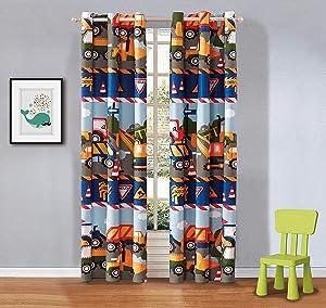 Elegant Home Multicolors Construction Site Equipment Trucks Tractors Design for Boys/Kids/Teens Room Window Curtain Treatment Drapes 2 Piece Set with Grommets (Construction Trucks)