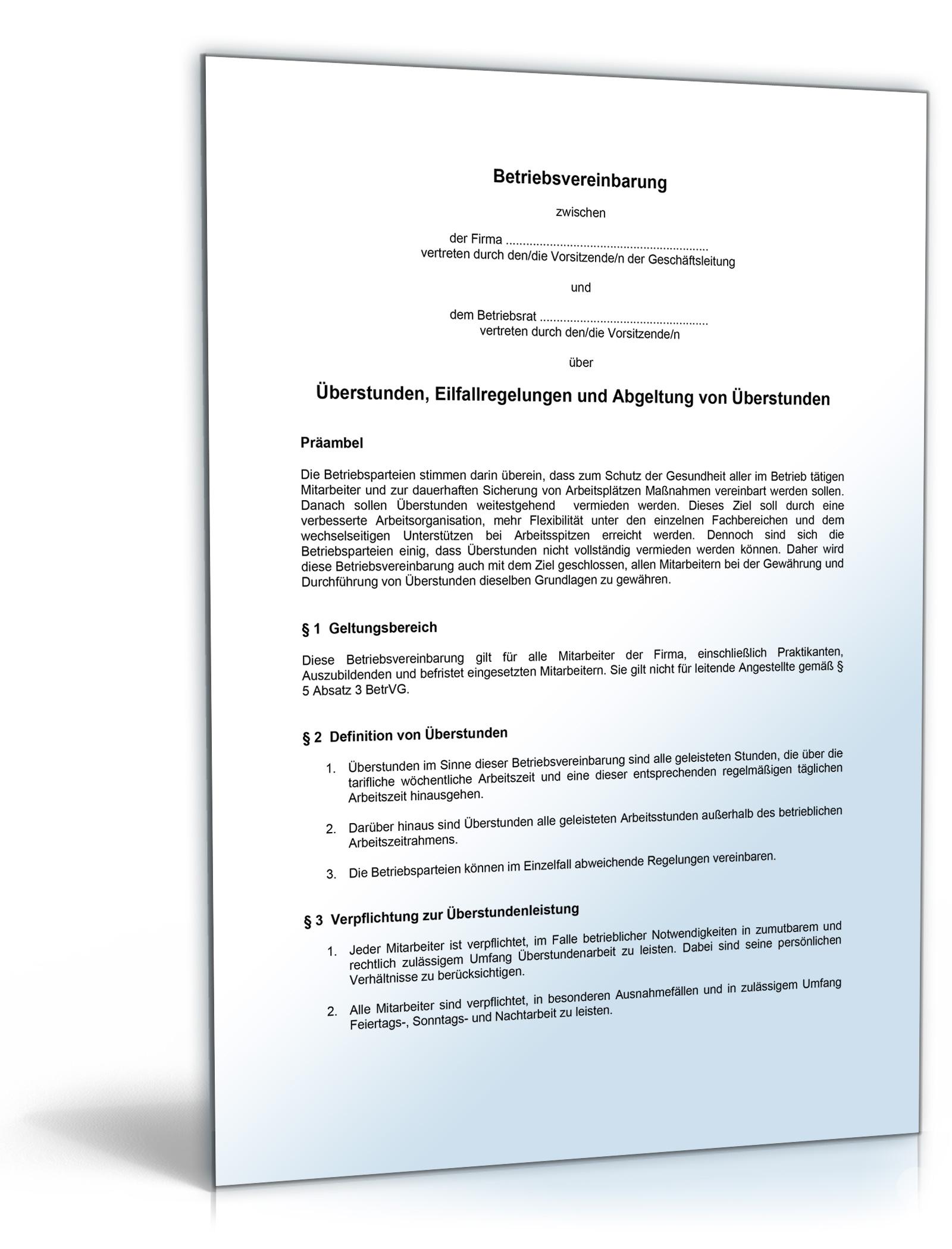 Betriebsvereinbarung Zu überstunden Pdf Download Amazonde Software