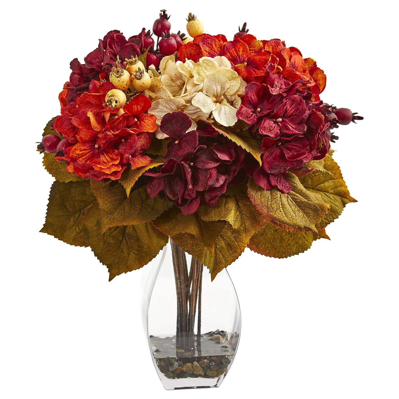 Nearly Natural 1790 Autumn Hydrangea Berry Artificial Silk Arrangements Burgundy//Red//Cream