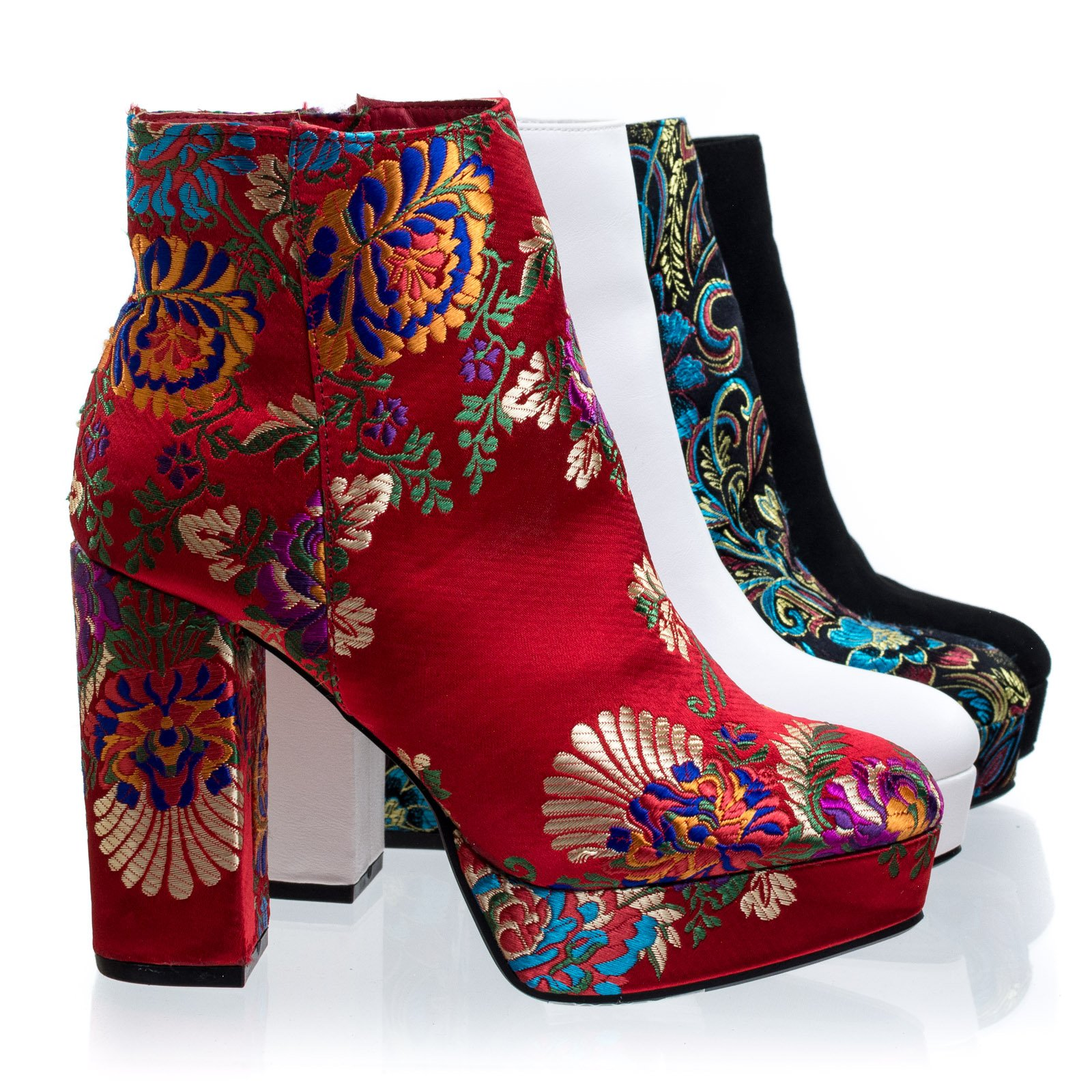 Connection02 Red Embroidery Chunky Block Heel Platform Bootie w Faux Fur Inner Lining -10